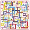 Kép 2/4 - Kontúrmatrica - retró négyzetek, sötétkék, 0496  - AKCIÓS