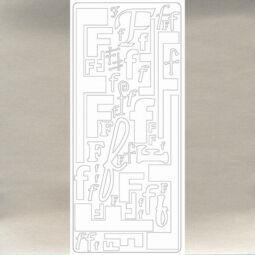 Kontúrmatrica - betű, F, ezüst, 0238  - AKCIÓS