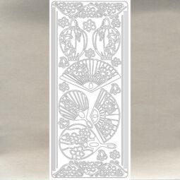 Kontúrmatrica - japán legyezők, ezüst, 0381  - AKCIÓS