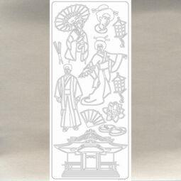 Kontúrmatrica - japán öltözet, ezüst, 2295  - AKCIÓS