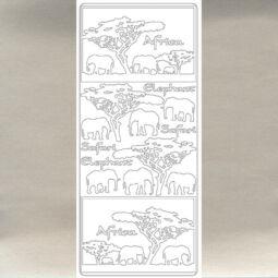 Kontúrmatrica - elefánt, ezüst, 2831  - AKCIÓS
