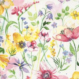 Szalvéta - Akvarell virágos rét (kk)