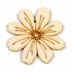 Fafigura, akasztható, lézerrel mintázott - Pillangó virág, nagy