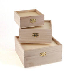 Fa dobozkészlet - 3 db-os peremes, 17x17x8/14x14x6,5/11x11x5 cm