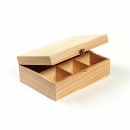 Fa doboz teafiltertartó - 6 rekeszes, 22x16x8 cm