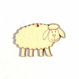 Fafigura, akasztható, lézerrel mintázott - Bárány fadísz, kicsi