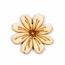 Fafigura, akasztható, lézerrel mintázott - Pillangó virág, közepes