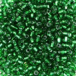 Kásagyöngy, átlátszó, ezüst béléssel, 2 mm - sötétzöld