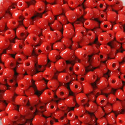 Teli színű kásagyöngy, 2 mm - piros