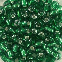 Átlátszó, ezüst béléses kásagyöngy, 4 mm - sötétzöld
