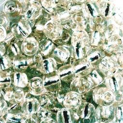 Átlátszó, ezüst béléses kásagyöngy, 4 mm - színtelen