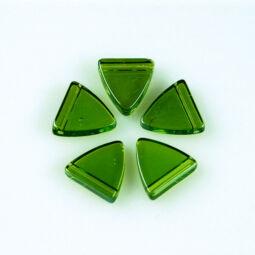 Üveggyöngy Yingli - pajzsgyöngy, zöld, 5 db