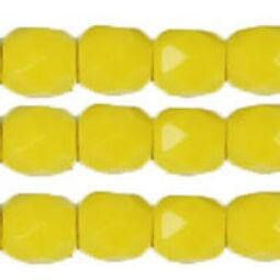 Cseh csiszolt üveggyöngy, 4 mm - yellow opaque