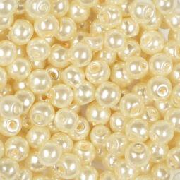 Műanyaggyöngy, viaszos, 4 mm, 20 g - beige
