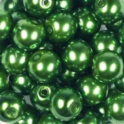Műanyaggyöngy, viaszos, 8 mm, 75 g - mohazöld