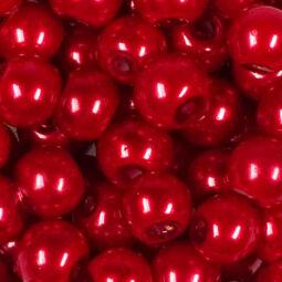 Műanyaggyöngy, viaszos, 8 mm, 75 g - piros