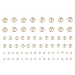 Öntapadós akril félgyöngyök, kerek, 72 db - krém. 3-5-7 mm