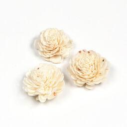 Száraztermés - Kézműves virág, fehér, 4 cm, 1 db