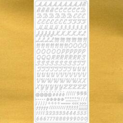Kontúrmatrica - dőlt betűk, számok és írásjelek, arany, 1860