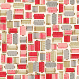 Patchwork anyag - Makower - Stitch in Time 2139/P Cotton reels pink