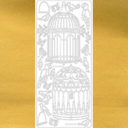 Kontúrmatrica - kalitka madarakkal, arany, 2372 - AKCIÓS