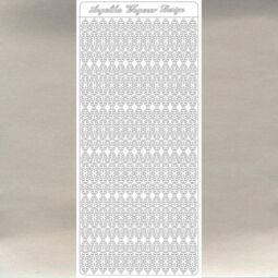 Kontúrmatrica - vékony csipkés csík, ezüst, 3473