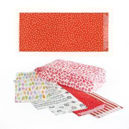 Mintás papírtasak, zacskó, 10x23 cm - Pöttyös, piros alapon fehér