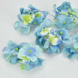 Művirág, selyem hortenziafej, 6 cm - kék, 1 db
