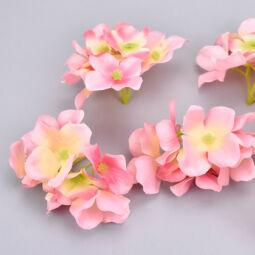 Művirág, selyem hortenziafej, 6 cm - rózsaszín, 1 db