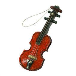 Színes fafigura, akasztható - hegedű, 8 cm, 1 db