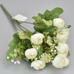 Művirág, boglárkacsokor rezgővel, 30 cm - krém