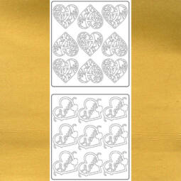 Kontúrmatrica - szívek, love, inda, arany, 5678