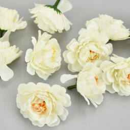 Művirág, selyemvirág fodros virágfej 4 cm - krémfehér, 1 db