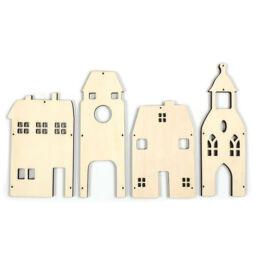Fafigura csomagban - Nagy házak sorozat, 4 db