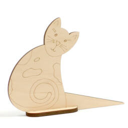 Fafigura - Ajtókitámasztó cica, foltos