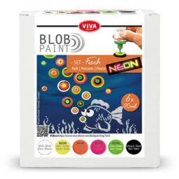 Pöttyöző festék készlet, Blob paint, 6x90 ml - Hal, neon