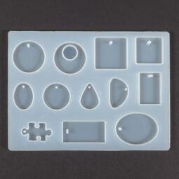 Szilikon öntő- és nyomóforma műgyantához, Fimo-hoz - lapos medálok, 12 féle