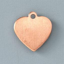 Tűzzománc medál alap - szív, 16x15 mm