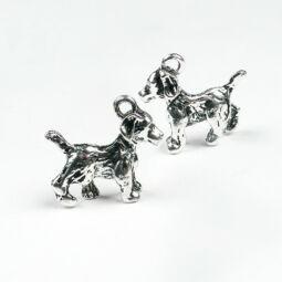 Charm, fémdísz - kutya, 3D
