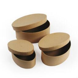 Papírmasé doboz készlet - ovális, 3 db-os
