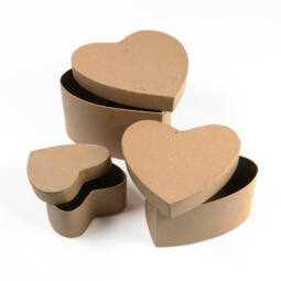 Papírmasé doboz készlet - szív, 3 db-os