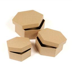 Papírmasé doboz készlet - hatszögletű, 3 db-os