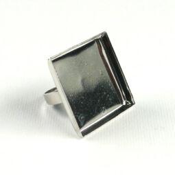 Gyűrűalap, szögletes, sima - 2,5 cm, ródium