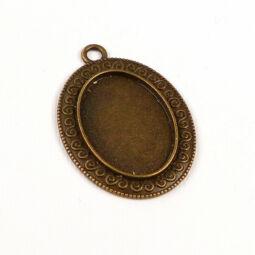 Medálalap, ovális, csigás - 1,8x2,5 cm, antik