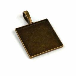 Medálalap, szögletes, sima - 2,5 cm, antik