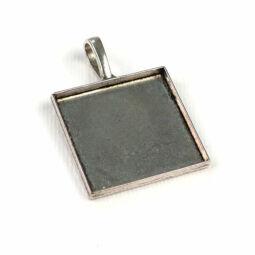 Medálalap, szögletes, sima - 2,5 cm, ródium