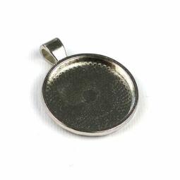 Medálalap, kerek, sima - 2,5 cm, ródium