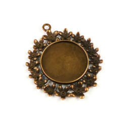 Medálalap, kerek, virágos - 2,5 cm, antik