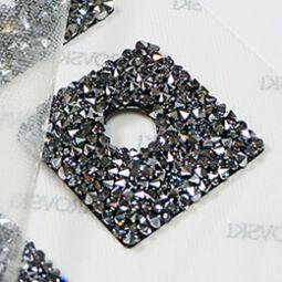 Swarovski Crystal Rocks hotfix felvasalható négyzet, 3,5x3,5 cm - Crystal Chrome