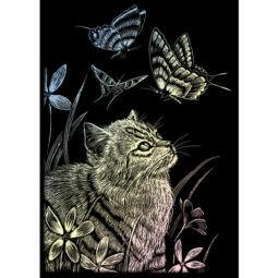 Cica és pillangó holográf karckép, 12x18 cm